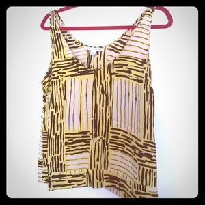 Diane Von Furstenburg Tank Top 8 Black Yellow